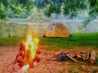 Picture of campfire and tent